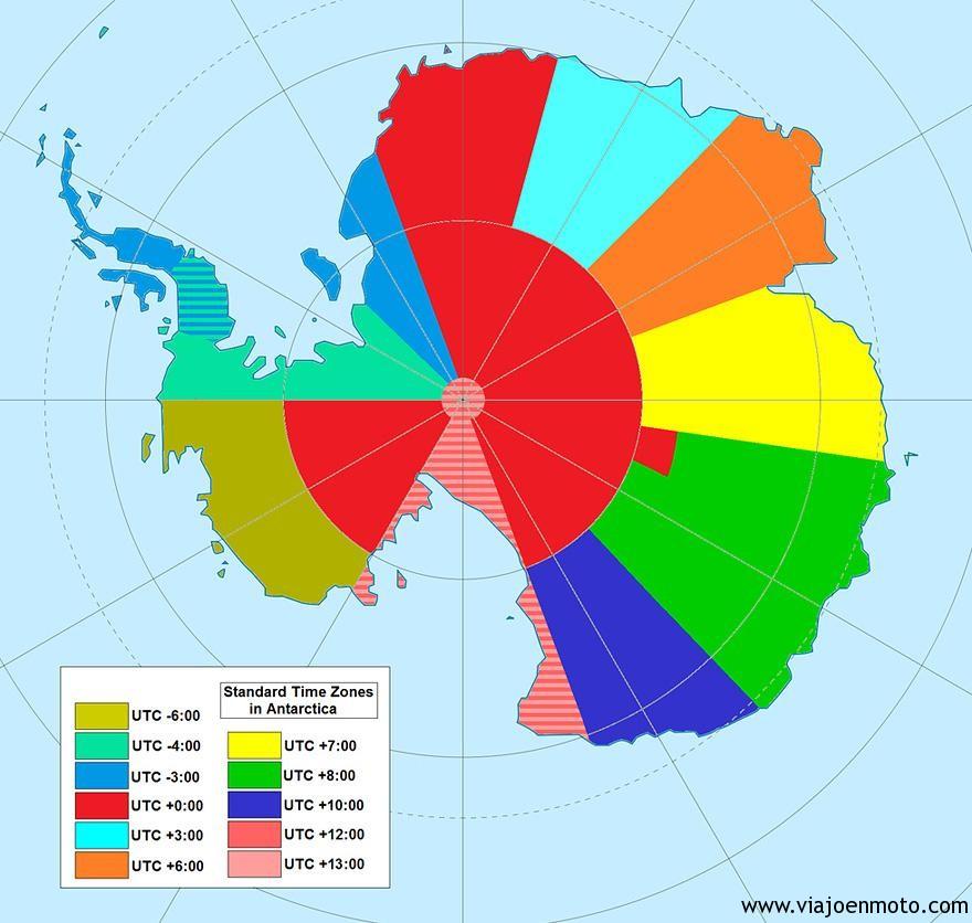 Zonas horarias en la Antártida Image credits: imgur.com